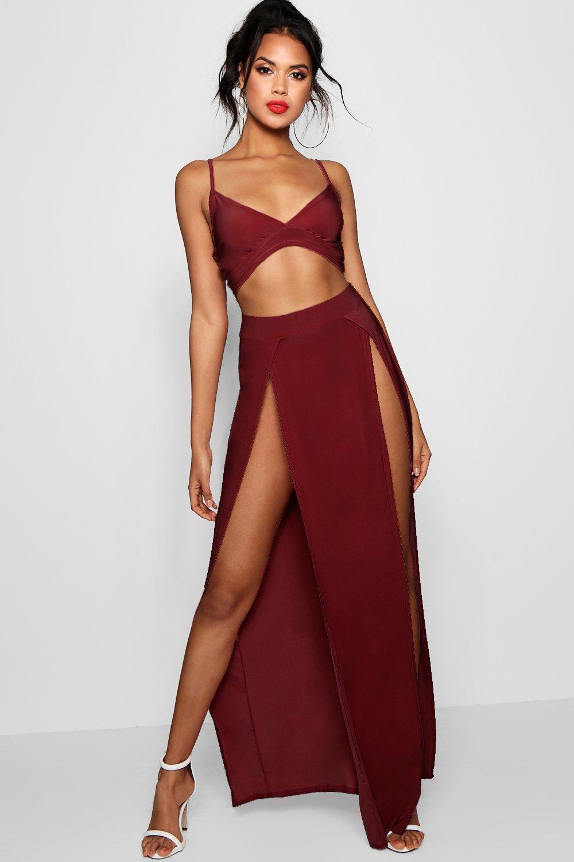 472e56100e0 Lyst - Boohoo Slinky Bralet And Split Maxi Skirt Co-ord in Red