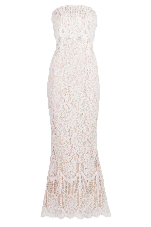 7b9744c51787e5 Boohoo Boutique Scallop Lace Bandeau Maxi Dress in White - Lyst