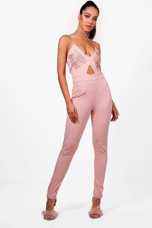 9ba18f8fd6f Boohoo Esme Applique Strappy Skinny Leg Jumpsuit in Pink - Lyst
