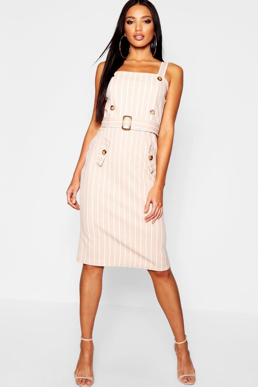 fff1f14ca4f7 Lyst - Boohoo Tonal Stripe Belted Pinafore Dress