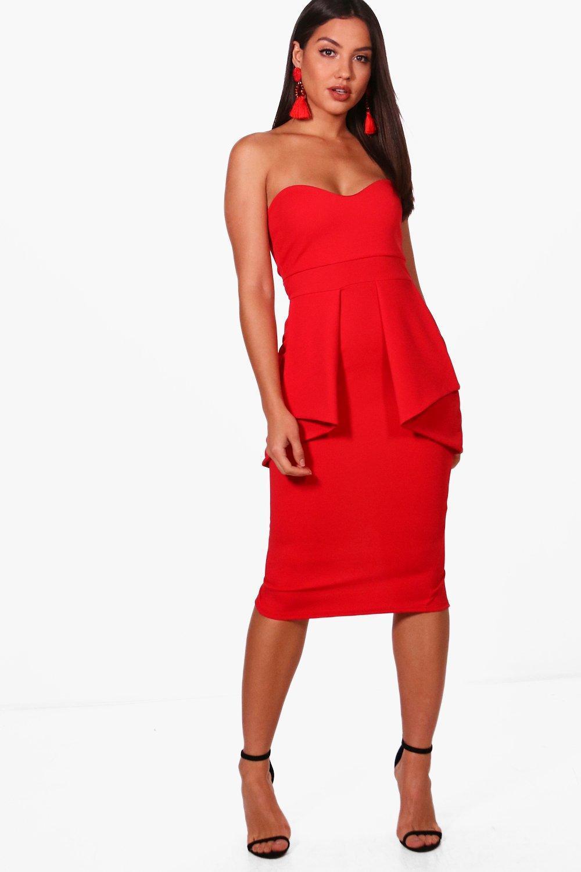 8755328207ee Boohoo Bandeau Peplum Waist Midi Dress in Red - Lyst