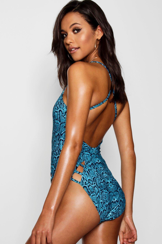 5485a4717224 Boohoo - Blue Tall Jade Strappy Snakeskin Print Swimsuit - Lyst. View  fullscreen