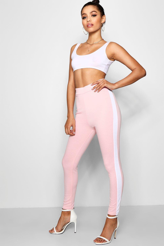6c4847f3ae901 Boohoo Ponte Contrast Side Panel Leggings in Pink - Lyst