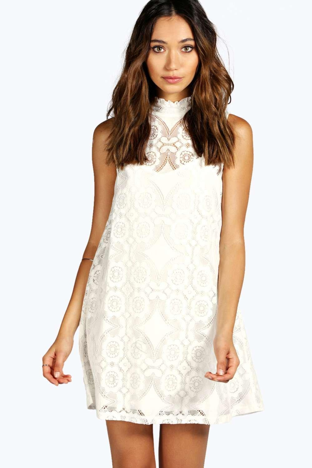 28ebd2733c2 Boohoo - White Lace High Neck Shift Dress - Lyst. View fullscreen