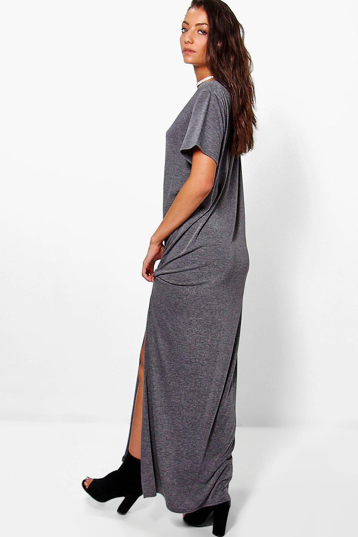 0751bc304 Boohoo Tall Delila Split Side T-shirt Maxi Dress in Black - Lyst