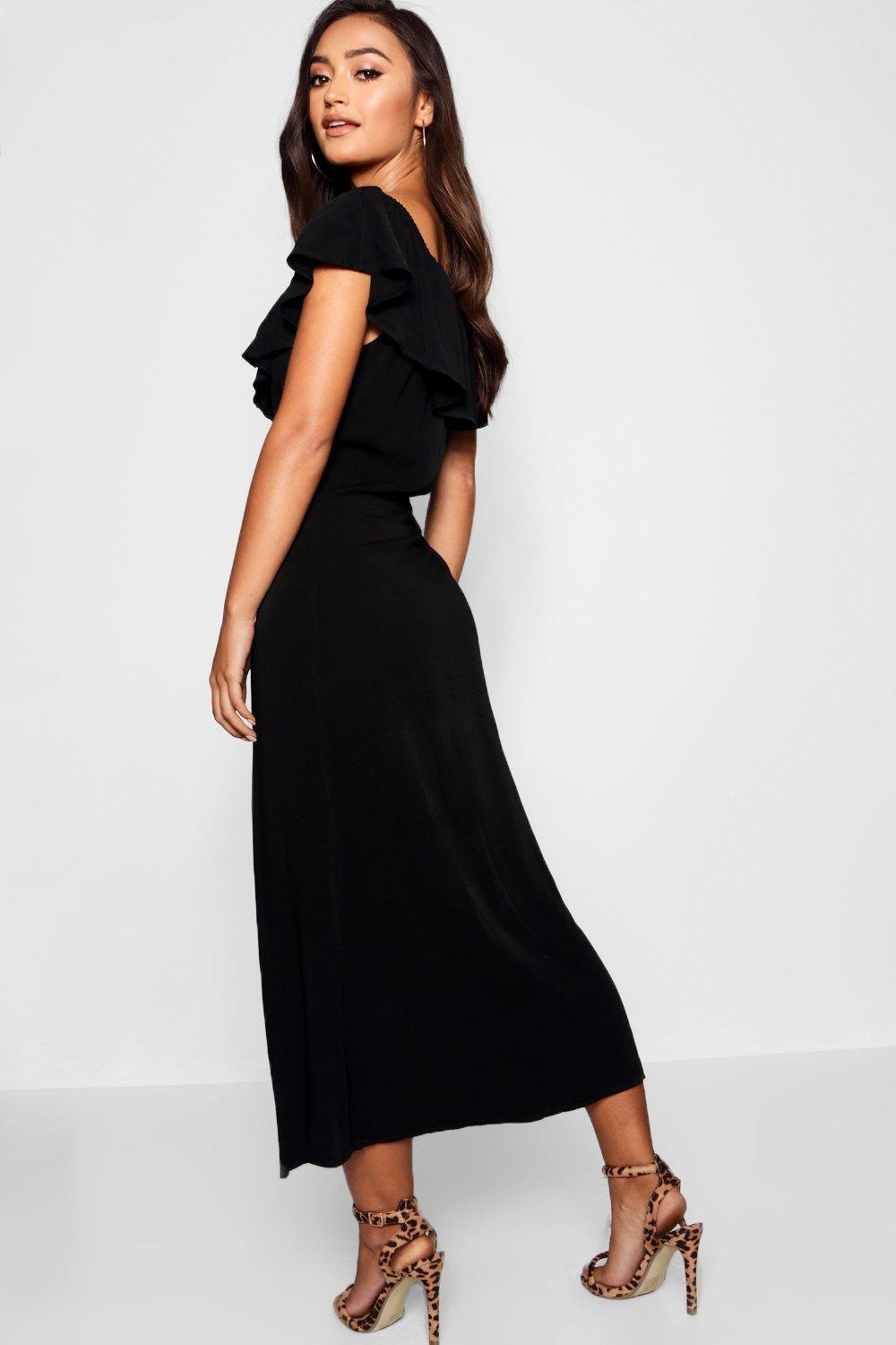 d95df78d4bd73 Boohoo - Brown Petite Woven Bardot Mock Horn Maxi Dress - Lyst. View  fullscreen