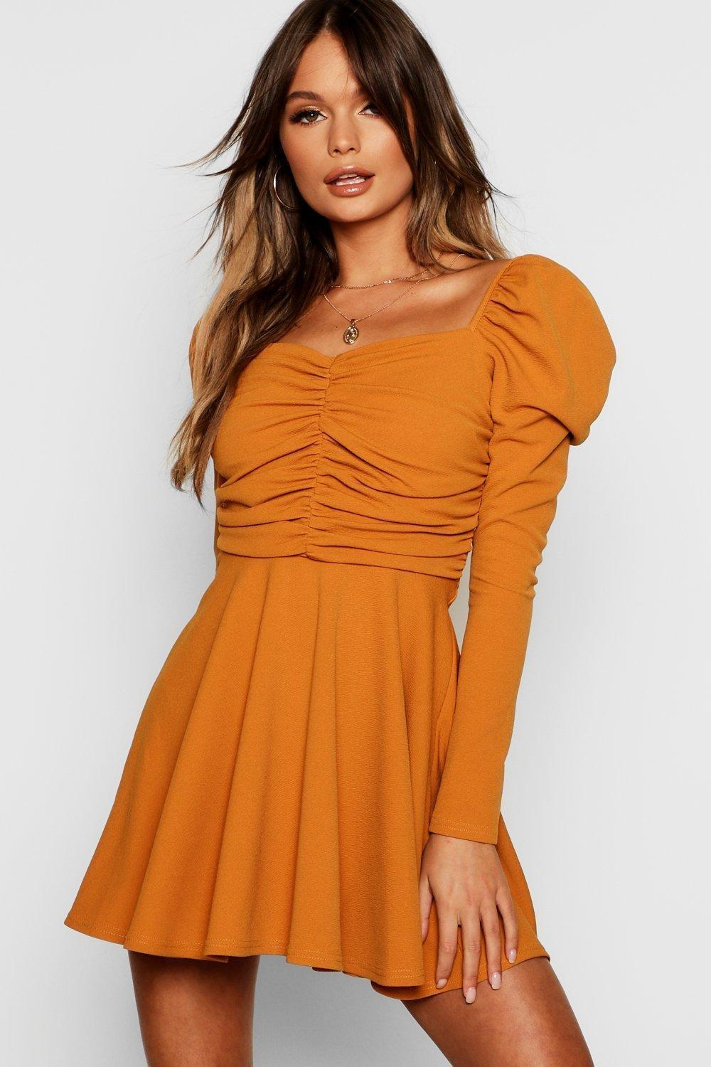 c28261333b Lyst - Boohoo Puff Sleeve Ruched Bodice Skater Dress in Orange