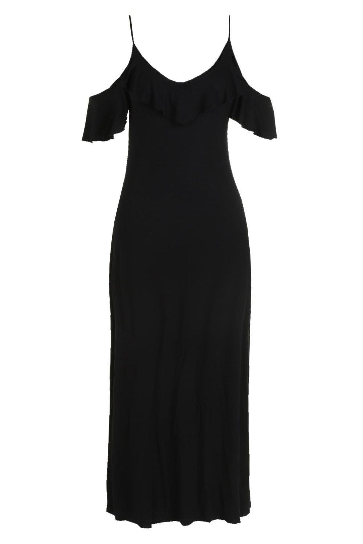 94b46312332 Boohoo Plus Ruffle Detail Cold Shoulder Maxi Dress in Black - Lyst