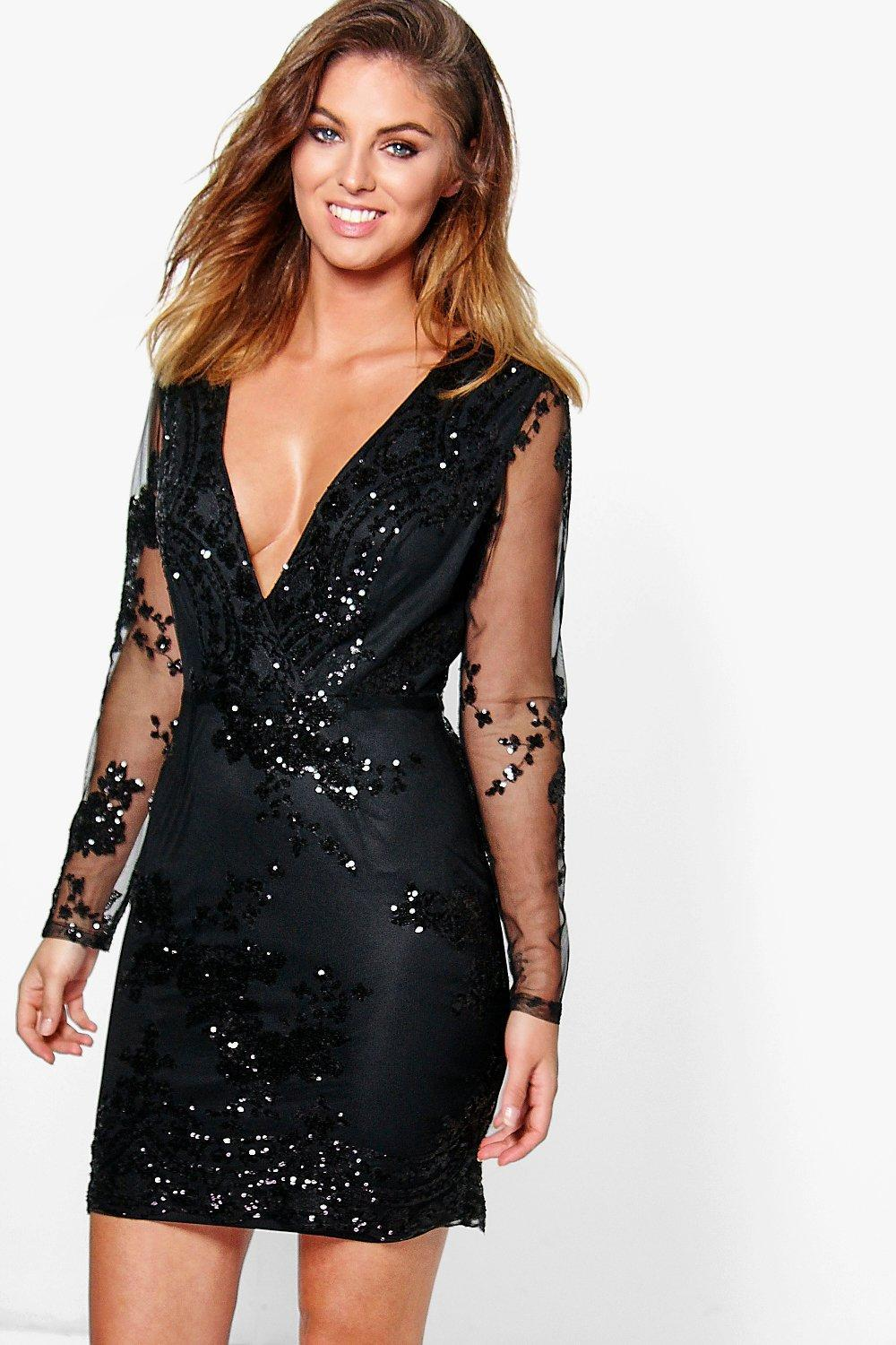 Boohoo Boutique Sequin Print Mesh Bodycon Dress in Black - Lyst 0d158373a