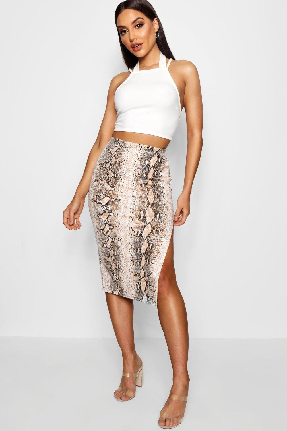 Boohoo Snake Print Double Split Midi Skater Skirt 2018 Newest For Sale Cheap Sale Low Cost Sale Really Free Shipping Great Deals Pictures Cheap Online 0iJWzt