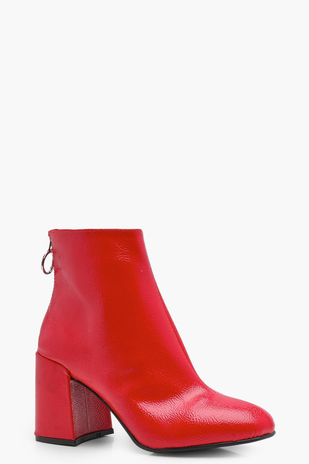 a2e7fd0d0113 Boohoo Patent Block Heel Ankle Shoe Boots in Red - Lyst