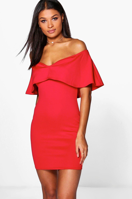 06f119f2bae01 Boohoo Kya Off Shoulder Sweetheart Frill Bodycon Dress in Red - Lyst