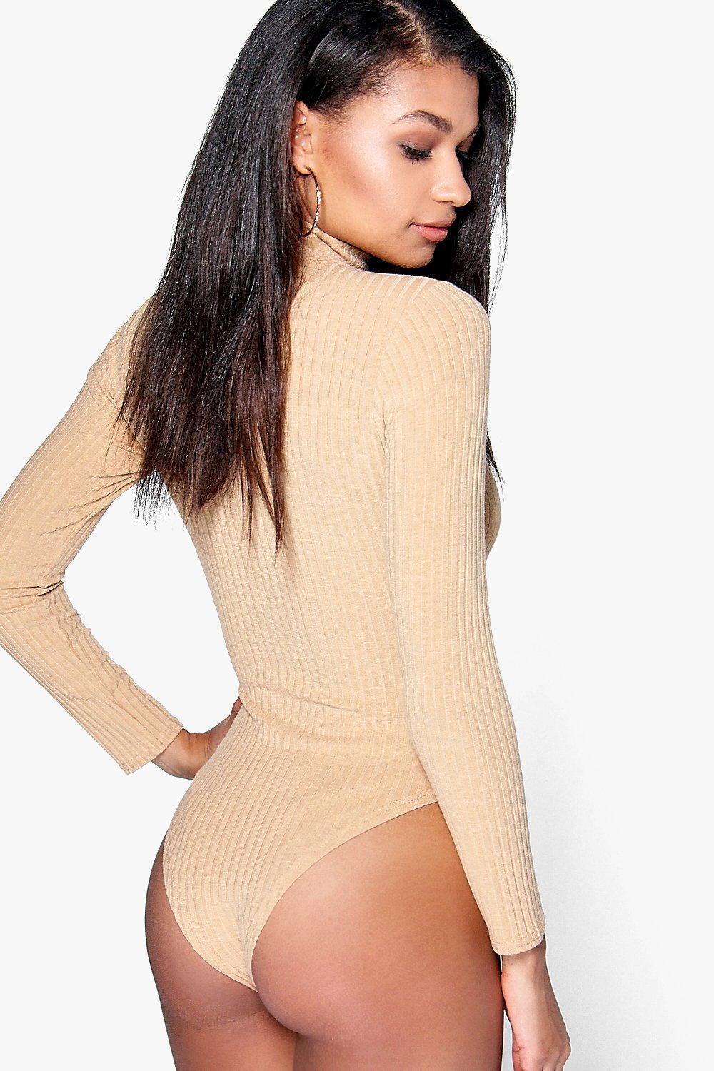 3eb3de834 Lyst - Boohoo Turtle Neck Long Sleeve Knitted Rib Bodysuit