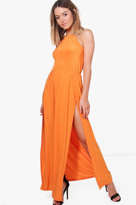 7a2f500304e Lyst - Boohoo Petite Amy Halterneck Split Leg Slinky Maxi Dress in ...