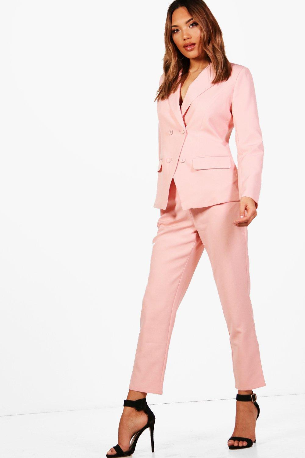 b28c216a1018 Lyst - Boohoo Straight Leg Woven Suit Trouser in Pink