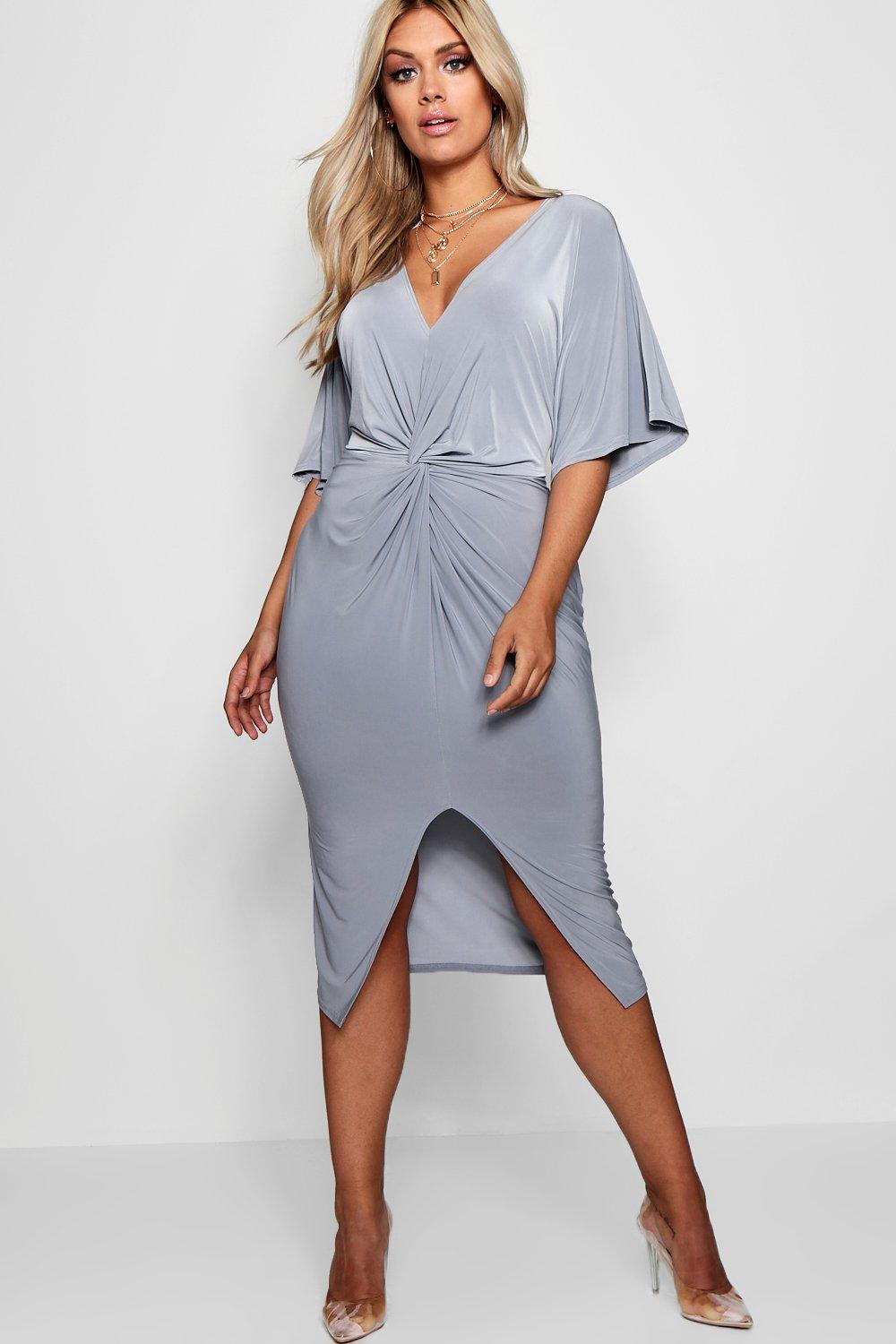Boohoo Plus Slinky Twisted Kimono Sleeve Midi Dress in Gray - Lyst ad956f2f0