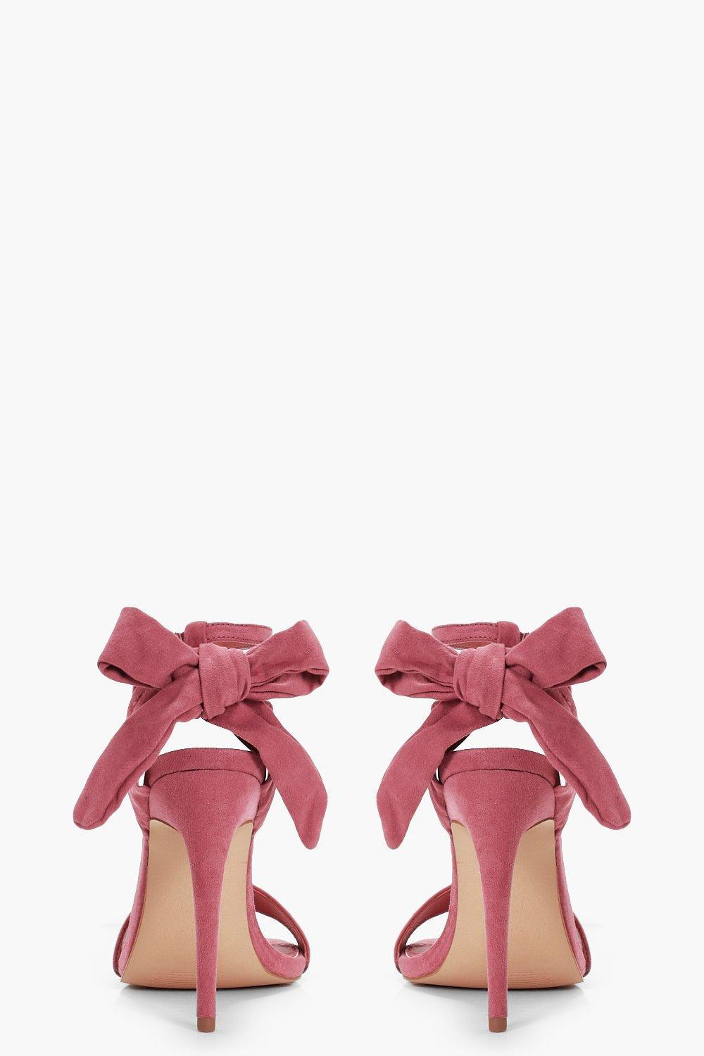 816bc3fdc1d Lyst - Boohoo Bow Back 2 Part Heels in Pink