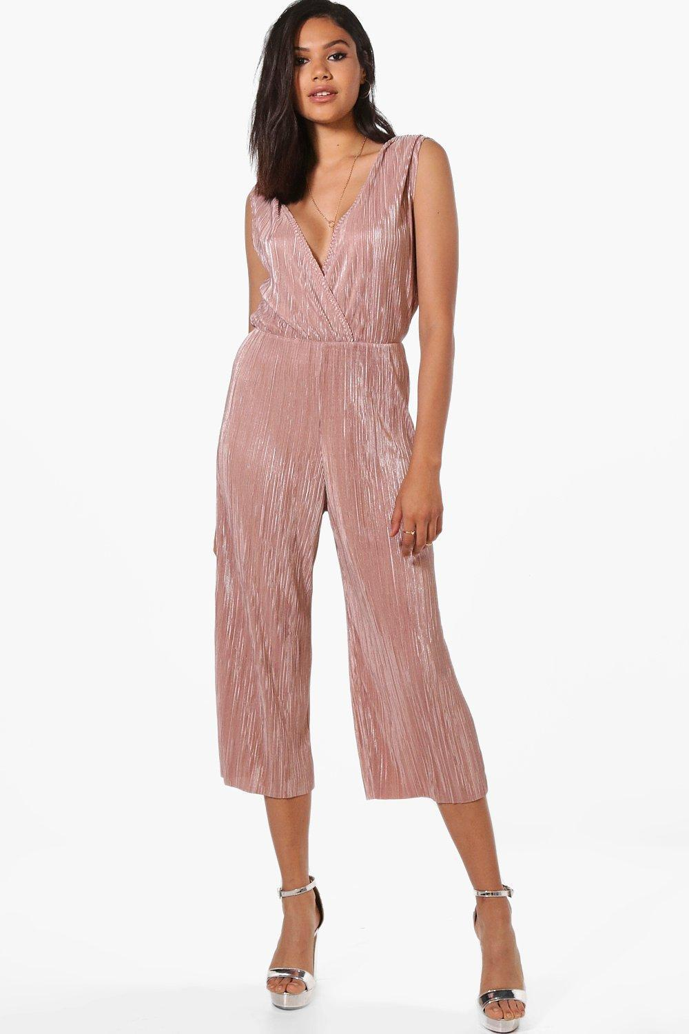 527a1447ca Lyst - Boohoo Wrap Front Plisse Culotte Jumpsuit in Pink