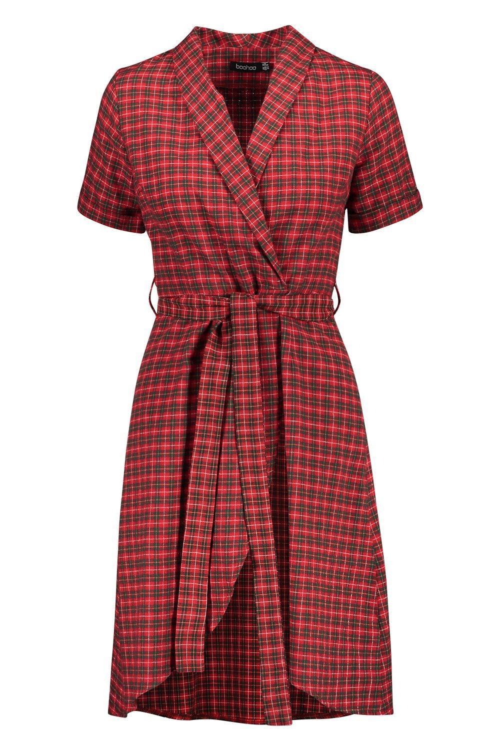 998018e6d94b Boohoo - Red Tartan Print Belted Wrap Midi Dress - Lyst. View fullscreen