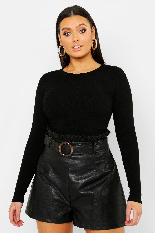 85af58101825 Lyst - Boohoo Plus High Waist Belted Pu Shorts in Black