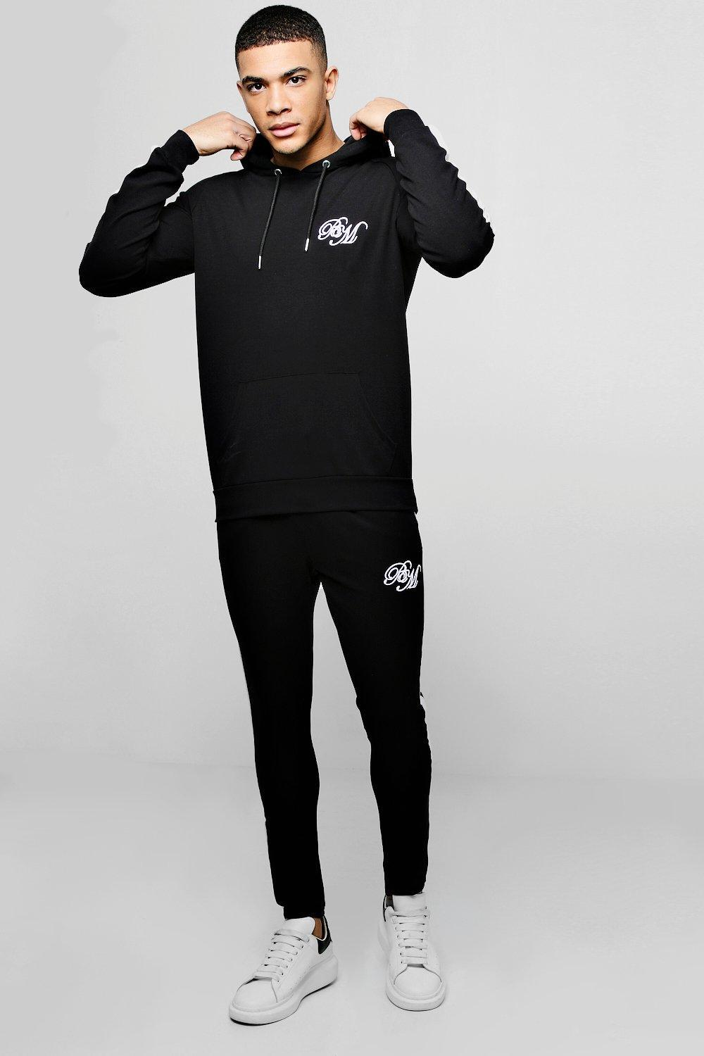 dd7320ff25 Lyst - Boohoo Poly Hooded Bm Tracksuit With Side Panels in Black for Men