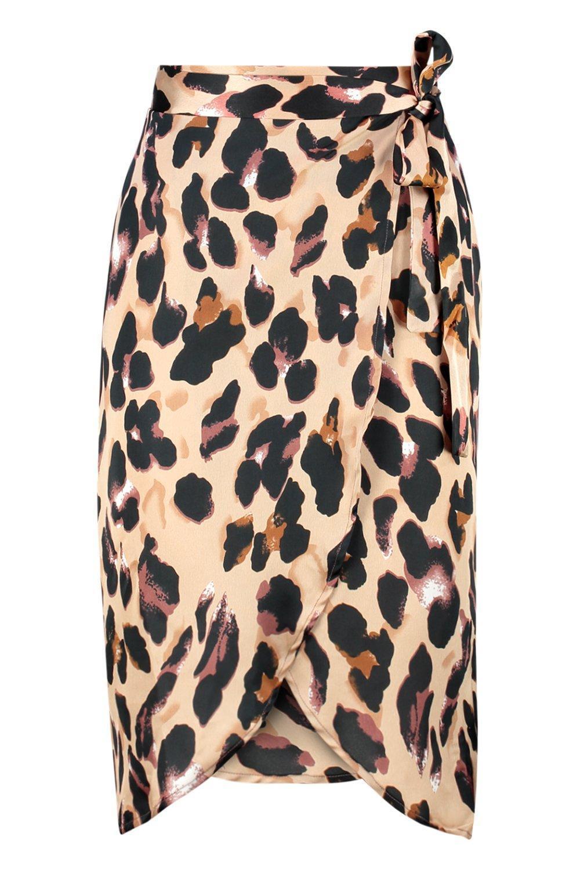 b79b8b11dd Boohoo - Brown Petite Leopard Print Satin Wrap Midi Skirt - Lyst. View  fullscreen