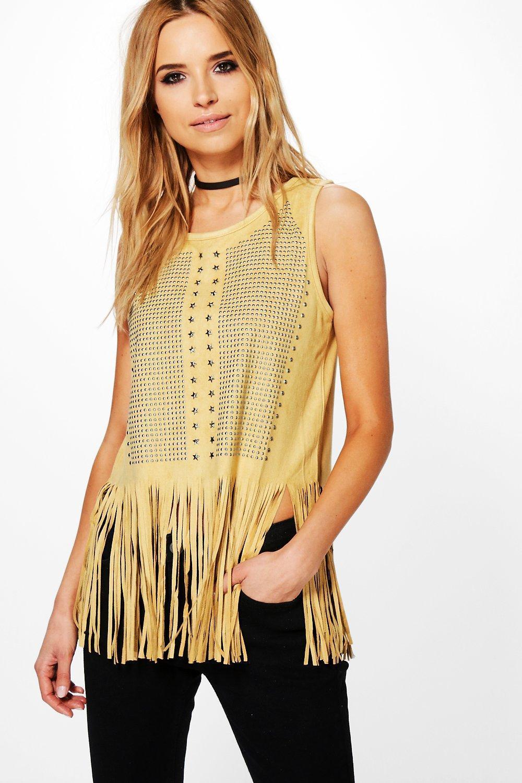 8851db1cc5ac23 Lyst - Boohoo Georgia Tassel Vest in Yellow