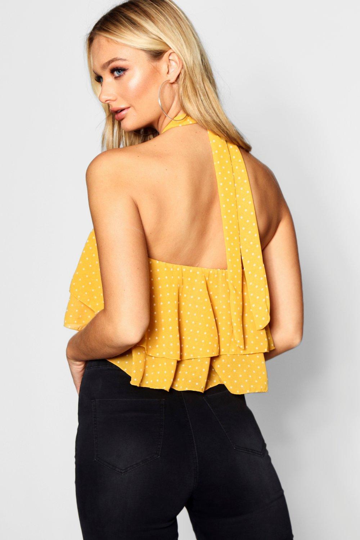 9e9459b26da5e Boohoo - Yellow Spot Tie Halter Neck Ruffle Crop - Lyst. View fullscreen