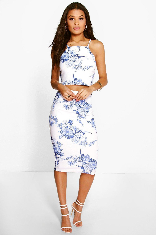 45a573e3e Boohoo Porcelain Print Top & Midi Skirt Co-ord Set in Blue - Lyst
