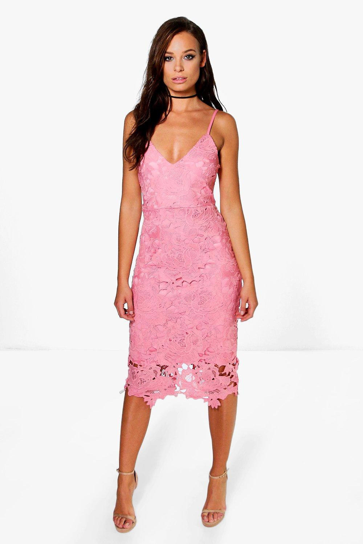 Boohoo Boutique Crochet Lace Strappy Midi Dress in Black - Lyst d5bde2648