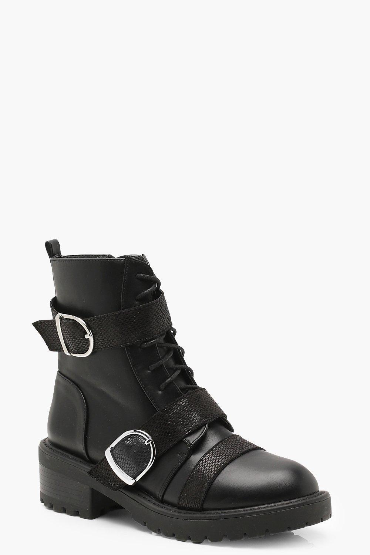 cdfa16a0f22 Boohoo Croc Contrast Strap Hiker Boots in Black - Lyst