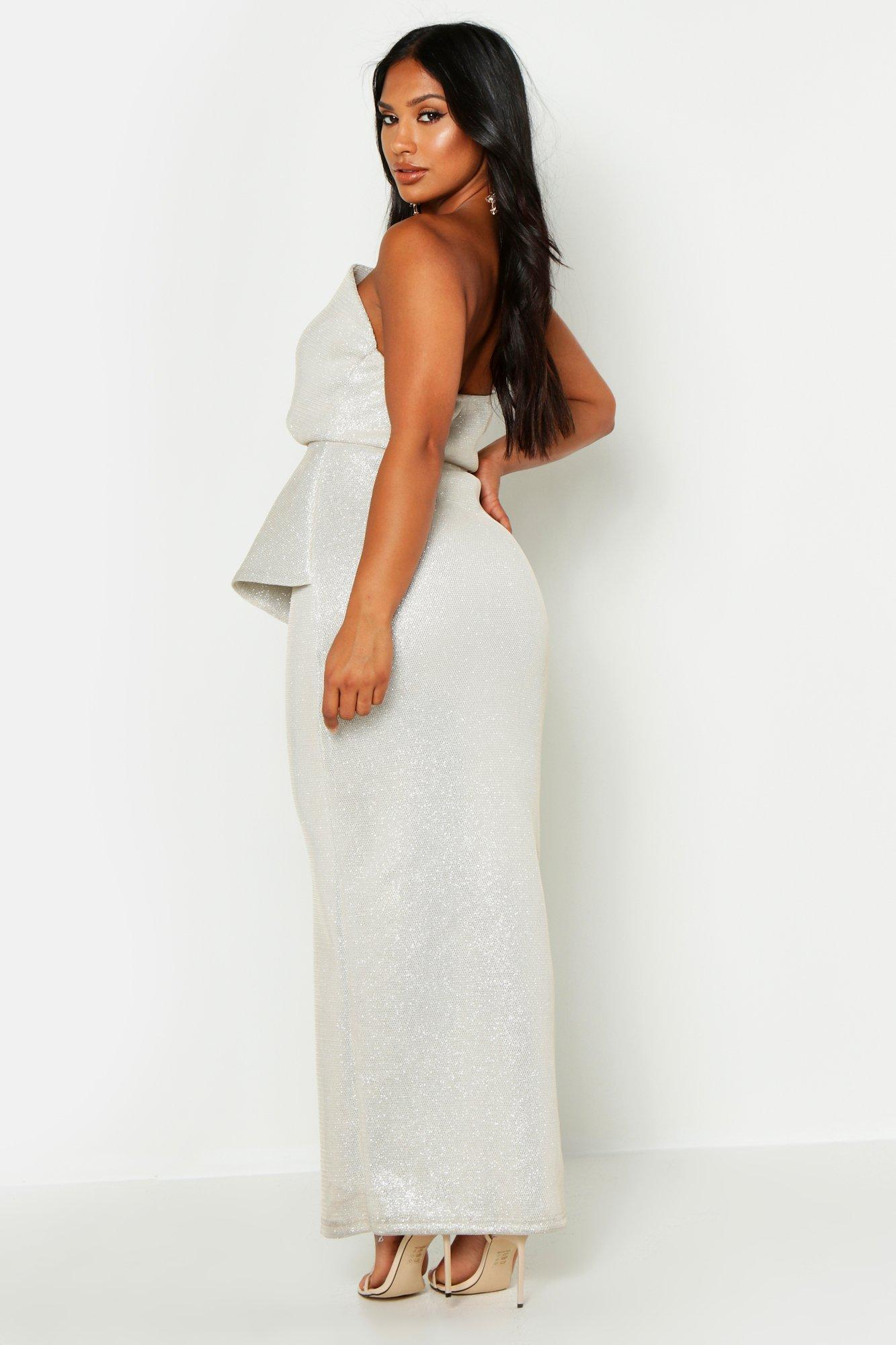 0728ee4e35bc42 Boohoo - Multicolor High Shimmer Origami Bandeau Maxi Dress - Lyst. View  fullscreen