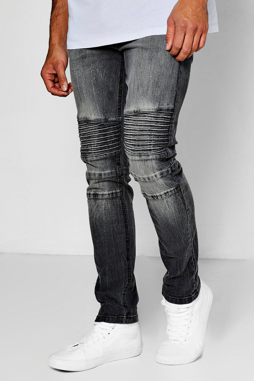 ef21a0a54e58 Lyst - Boohoo Charcoal Wash Slim Fit Biker Jeans in Gray for Men