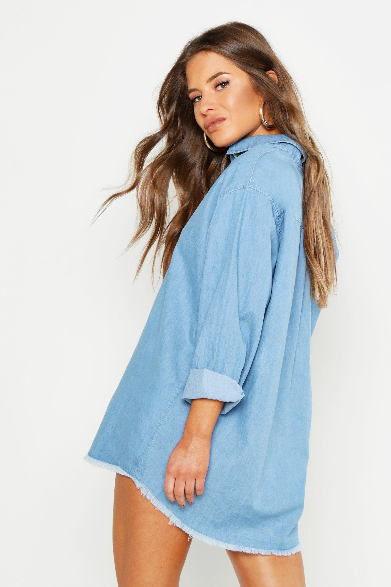 846abadc418 Boohoo - Blue Petite Denim Oversized Shirt Dress - Lyst. View fullscreen