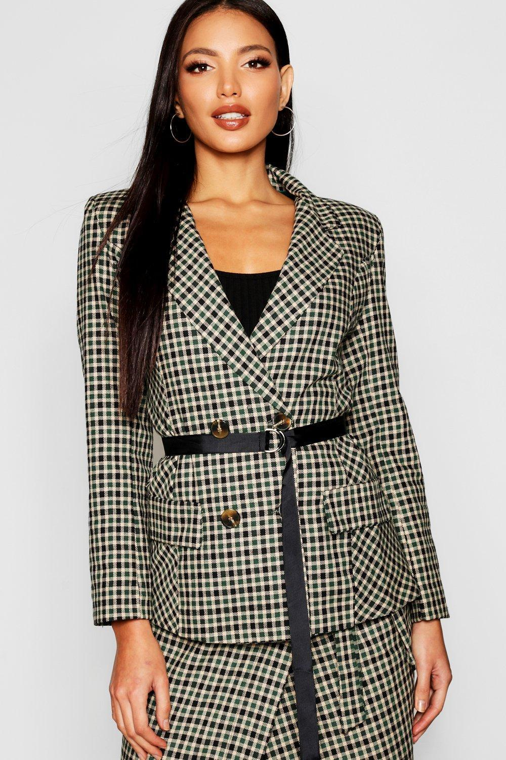 6cdad55125d Lyst - Boohoo Woven Mini Check Belted Blazer in Green
