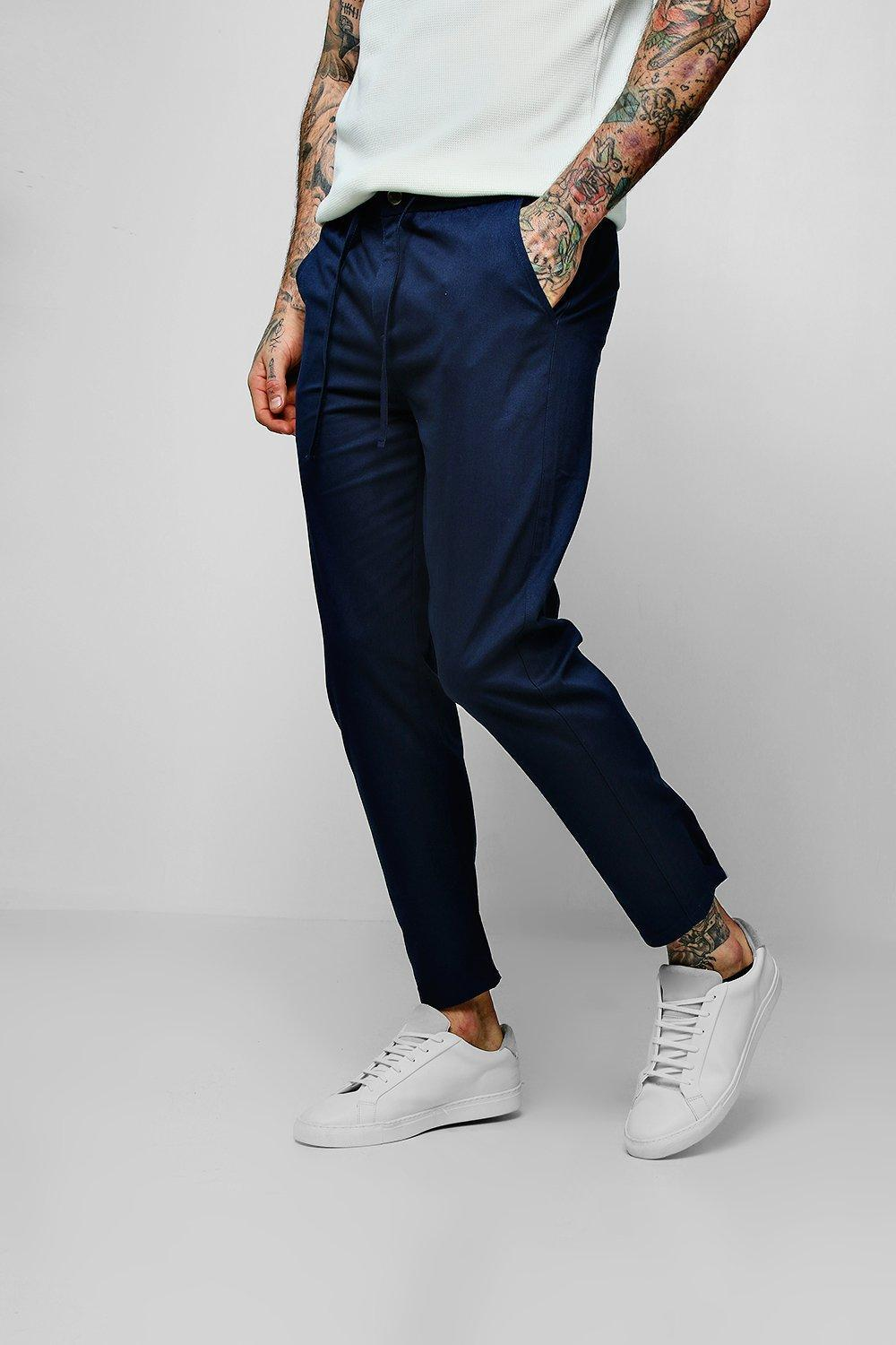 b1648800c86b Lyst - Boohoo Drawcord Waist Slim Fit Chino Trouser in Blue for Men
