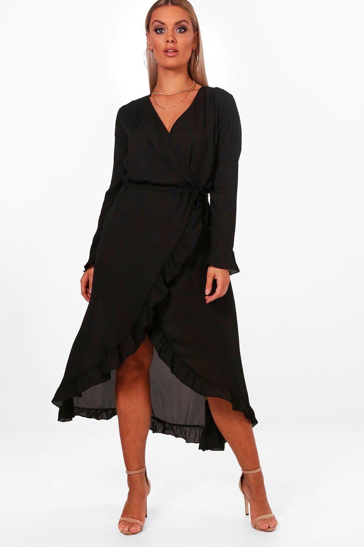 e4bca72423 Boohoo Plus Maya Ruffle Wrap Midi Tea Dress in Black - Lyst