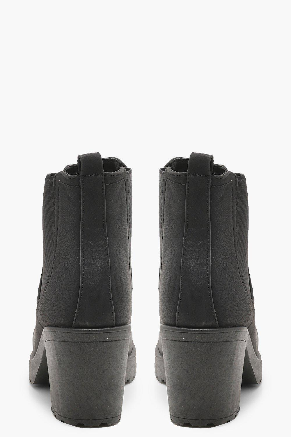 167d36306152 Boohoo - Black Wide Fit Chunky Cleated Heel Chelsea Boots - Lyst. View  fullscreen