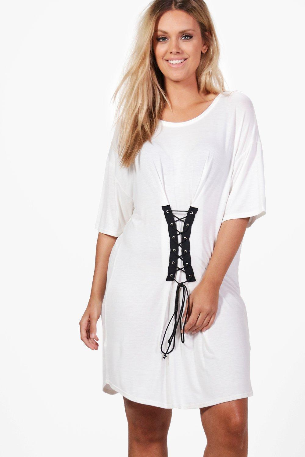 639d2f53f2 Lyst - Boohoo Plus Gerogina Corset Detail T-shirt Dress in White