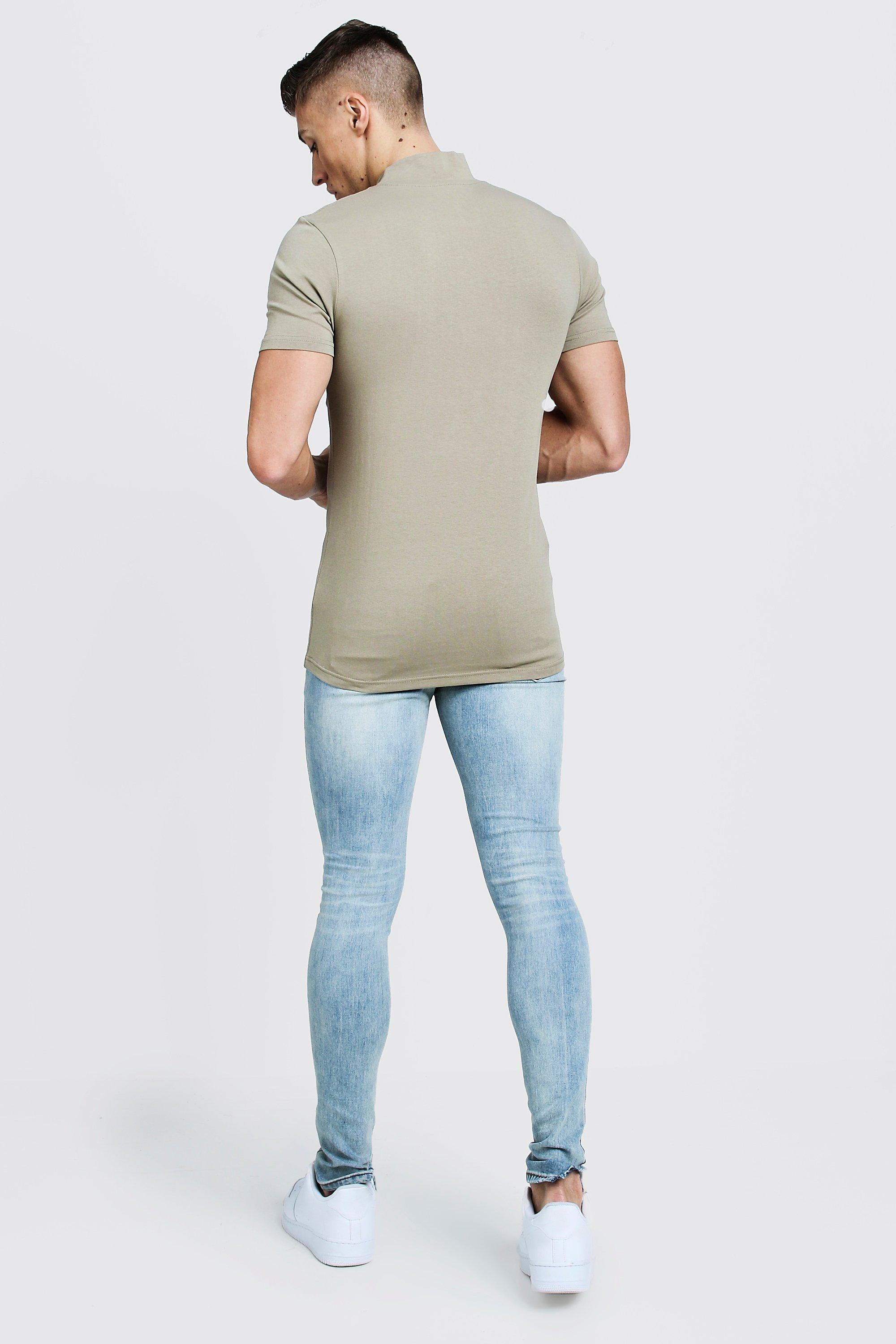 64f8c3fc Boohoo - Natural Muscle Fit T-shirt With Extended Neck for Men - Lyst. View  fullscreen