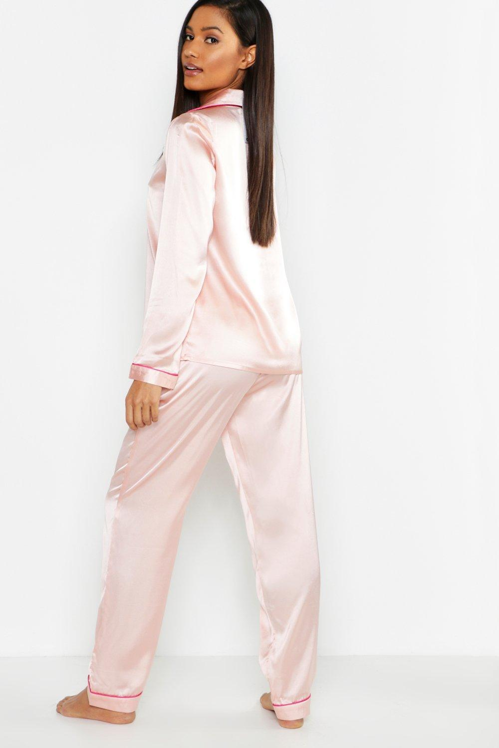 b0a24bd0a9 Boohoo - Pink Satin Button Through Pj Trouser Set - Lyst. View fullscreen