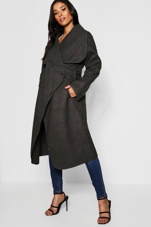 0bb1b93631285 Boohoo Maternity Wool Look Wrap Front Coat in Gray - Lyst
