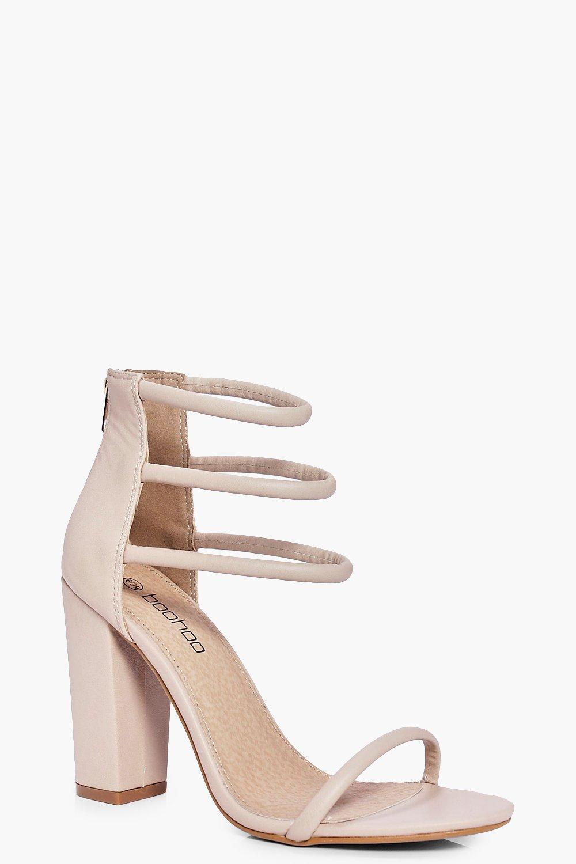 ff83b0f3031 Lyst - Boohoo Three Strap Ankle Band Block Heels