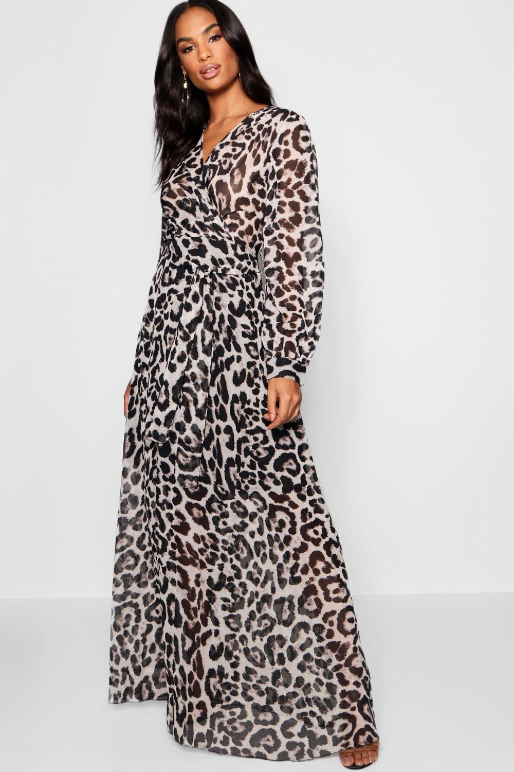 2090f3ac0a25 Boohoo Tall Sheer Leopard Print Maxi Dress in Gray - Lyst