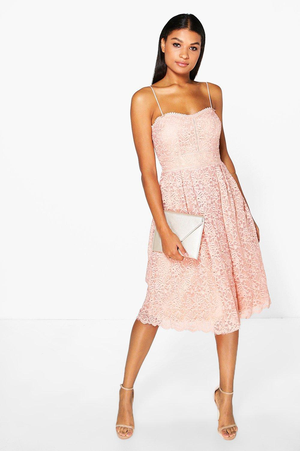 Boohoo Boutique Embroidered Strappy Midi Skater Dress in Pink - Lyst 257226360