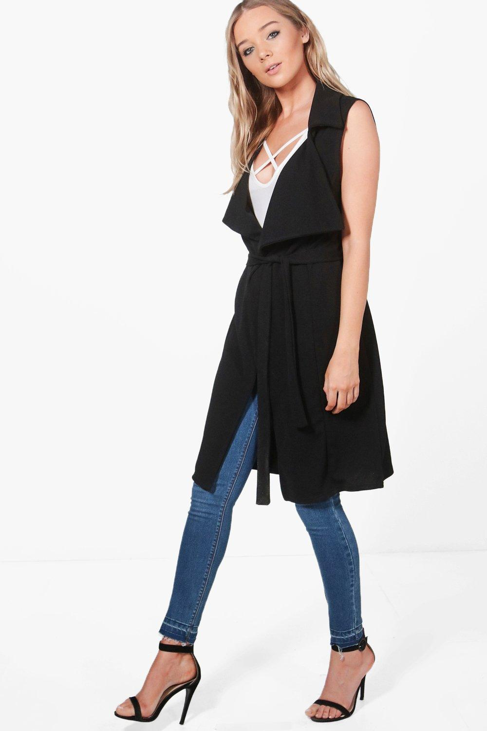 Lyst - Boohoo Zoe Shawl Collar Belted Duster in Black 401c5dfcf