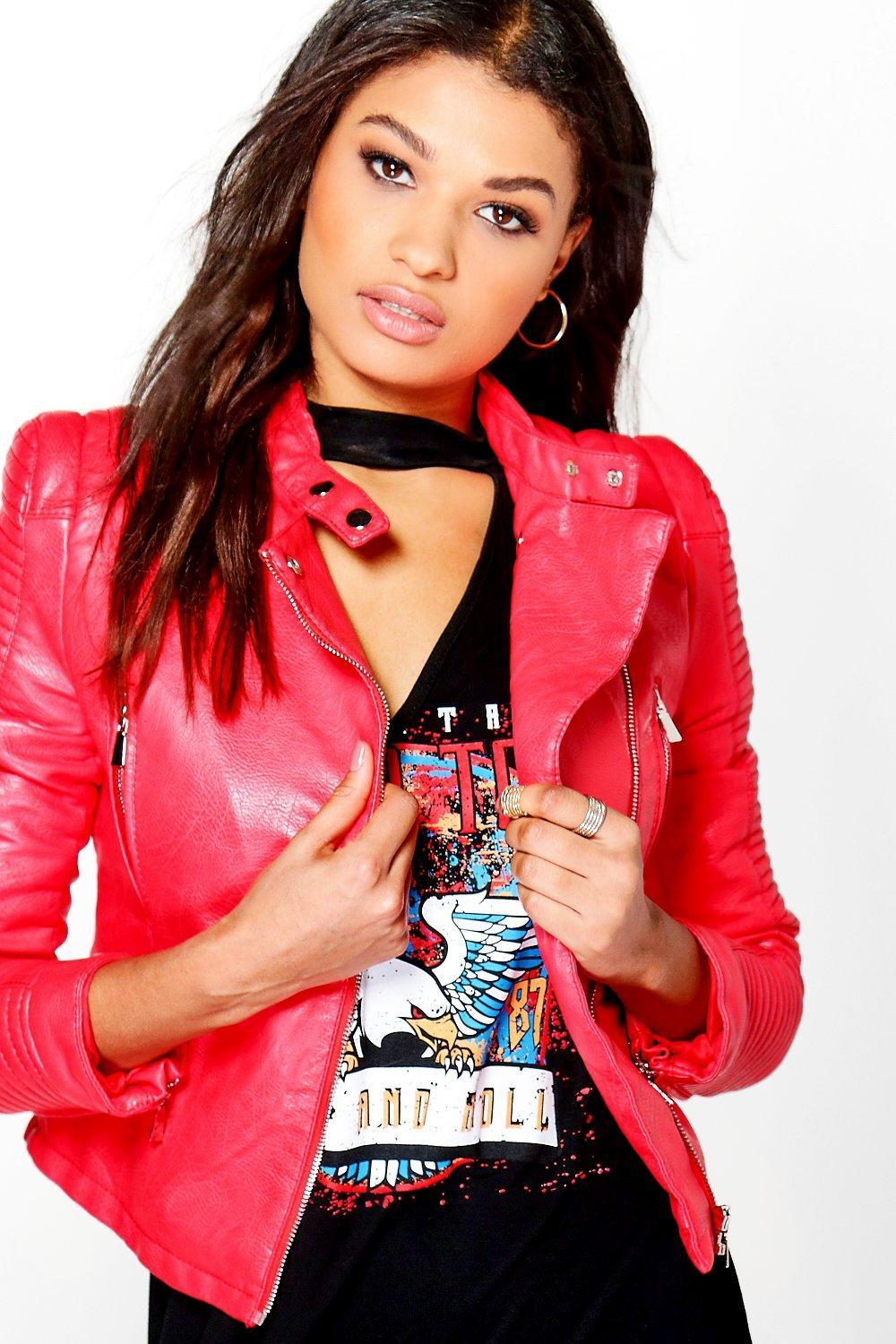 Leather jacket boohoo - Boohoo Women S Red Kayla Quilted Sleeve Faux Leather Biker Jacket