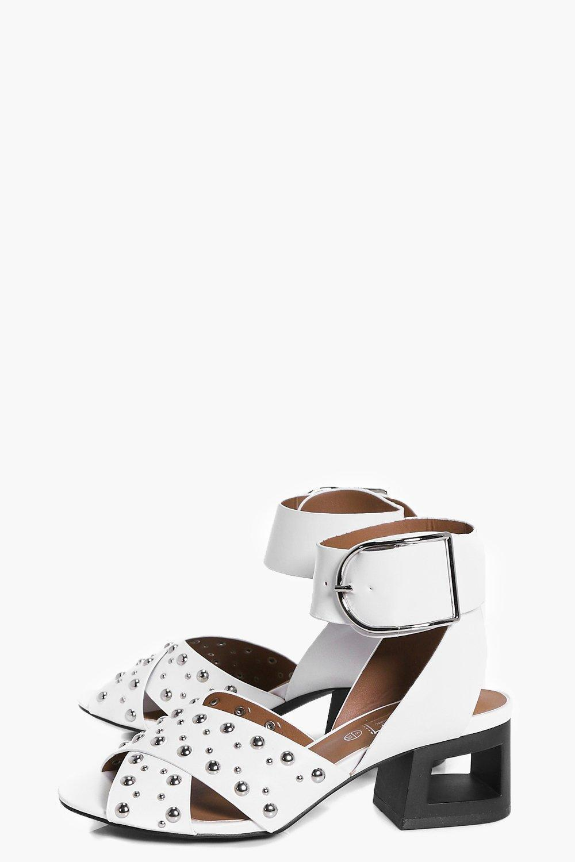 ab81030b21bb Lyst - Boohoo Tia Studded Cut Heel Buckle Sandal in White