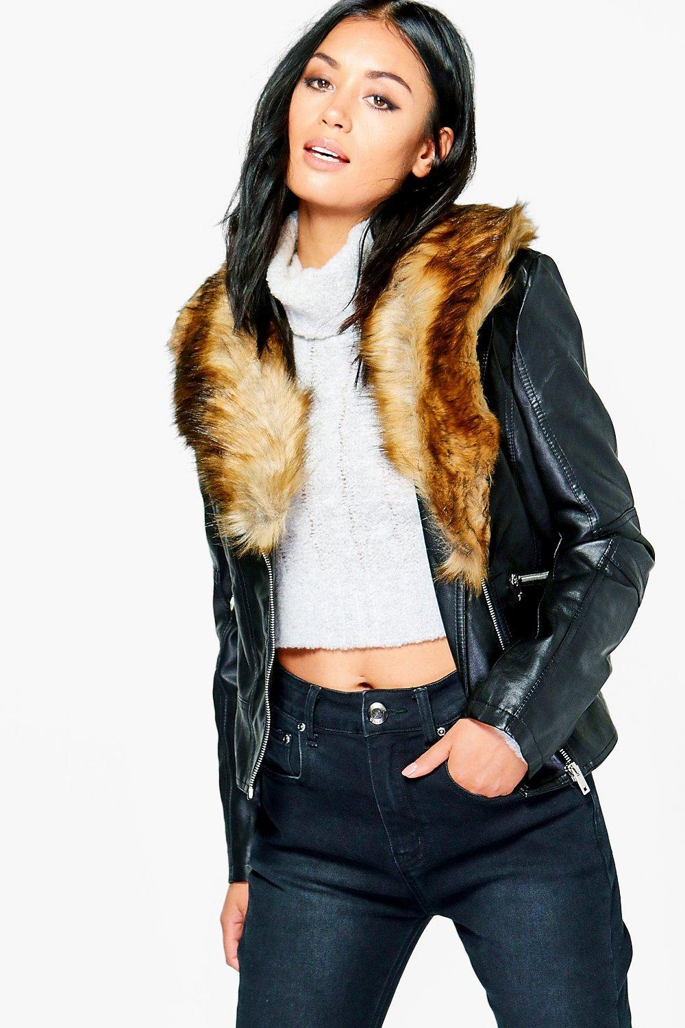 9fc2589d243 Boohoo Sophie Faux Leather Jacket With Faux Fur Collar in Black - Lyst
