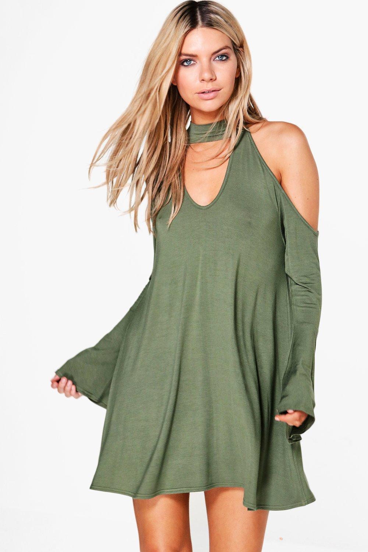 Boohoo Maisie Cold Shoulder Choker Swing Dress in Green